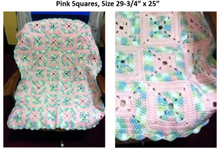 Afghan with Pink Squares