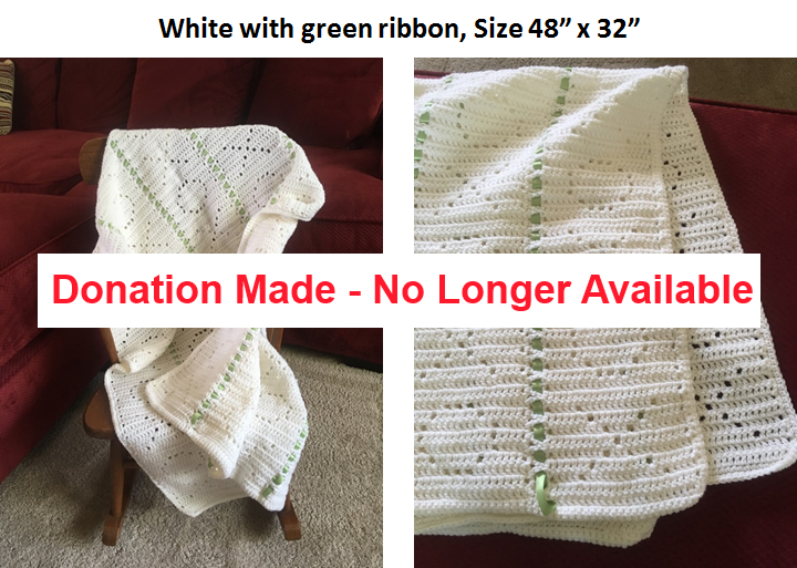 White Afghan with Green Ribon - Donation Made, No Longer Available
