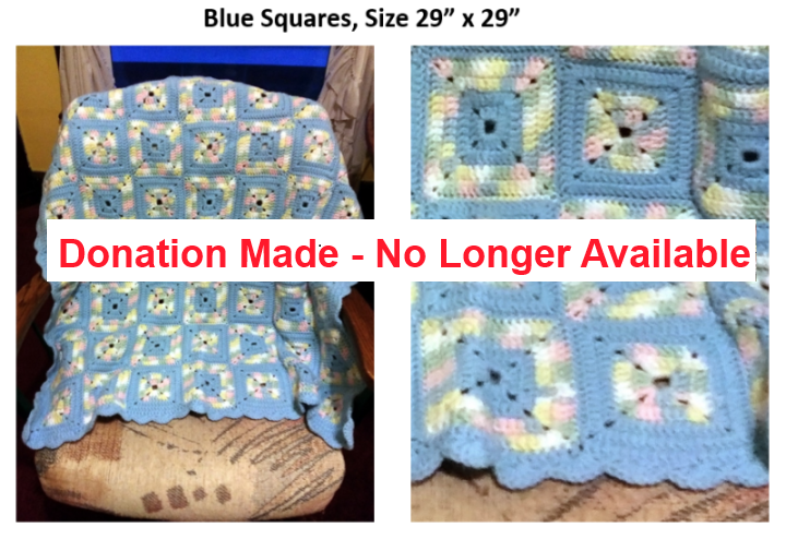Afghan with Blue Squares - Donation made, no longer available
